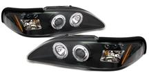 Mustang Halo LED Projector Headlight Kit  - Black (94-98)