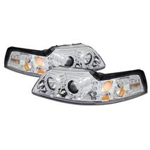Mustang Projector LED Halo Headlight Kit  - Chrome (99-04)