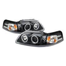 Mustang Projector LED Halo Headlight Kit  - Black (99-04)