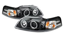 Mustang Projector LED Halo Headlight Kit Black (99-04)