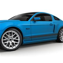 Mustang SVE Rocker Stripe Decal Kit, GT Logo Matte Black (05-14)