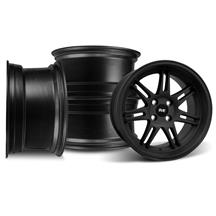 Mustang SVE Anniversary Staggered Wheel Kit - 17x9/10 Flat Black   (79-93)