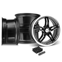 Mustang SVE Series 2 Wheel & Lug Nut Kit - 20X8.5 Black w/ Machined Lip (15-18)
