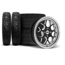 SVE Mustang Drag Comp Wheel & Tire Kit - 17x4.5/15x10  - Gloss Black - M/T Tires (79-93)