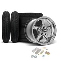 "Mustang SVE Drag ""Classic"" Wheel & Tire Kit - 15x3.75 / 15x10  - Dark Stainless  (05-10)"