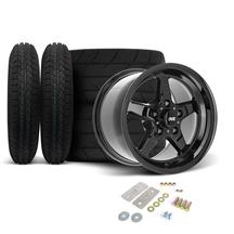 "Mustang SVE Drag ""Classic"" Wheel & Tire Kit - 15x3.75 / 15x10  - Gloss Black  (05-10)"