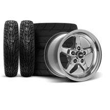 "Mustang SVE Drag ""Classic"" Wheel & Tire Kit - 17x4.5 / 15x10  - Dark Stainless  (94-04)"