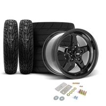 Mustang SVE Drag Wheel & Tire Kit - 17x4.5 / 15x10  - Gloss Black  (05-14)