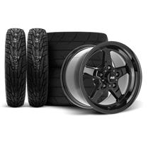 "Mustang SVE Drag ""Classic"" Wheel & Tire Kit - 17x4.5 / 15x10  - Gloss Black  (94-04)"