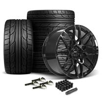Mustang SVE S500 Wheel & Tire Kit - 20x8.5/10  - Gloss Black - NT555 G2 Tires (15-19)