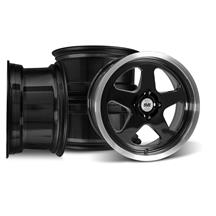 SVE Mustang Saleen SC Style Wheel Kit - 17x8   - Black W/ Machined Lip (79-93)