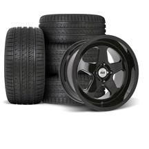 SVE Mustang Saleen SC Style Wheel & Tire Kit - 17x8/10  - Gloss Black - Deep Dish (79-93) Sumitomo HTR Z5