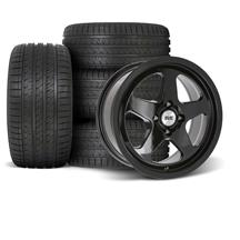 SVE Mustang Saleen SC Style Wheel & Tire Kit - 17x8/9  - Gloss Black - HTR Z5 Tires (79-93)
