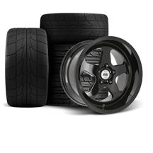 Mustang SVE Saleen SC Style Wheel & Tire Kit - 17x9/10  - Gloss Black - Deep Dish (94-04)