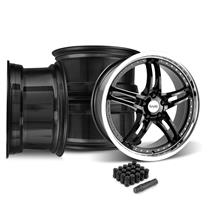 Mustang SVE Series 2 Wheel Kit - 19x9/10  - Gloss Black w/ Machined Lip (15-18)