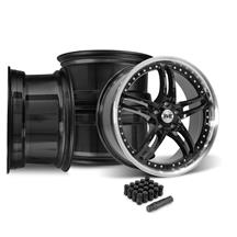 Mustang SVE Series 2 Wheel & Lug Nut Kit - 20x8.5/10 Black w/ Machined Lip (15-18)