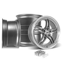 Mustang SVE Series 2 Wheel & Lug Nut Kit - 20X8.5/10 Gun Metal w/ Machined Lip (15-19)