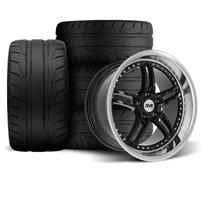 SVE Mustang Series 2 Wheel & Tire Kit - 18x9/10 Black w/ Machined Lip (94-04) Nitto NT05