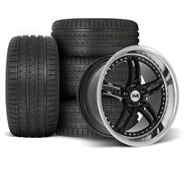 Mustang SVE Series 2 Wheel & Tire Kit - 18x9/10  - Black w/ Machined Lip (94-04)