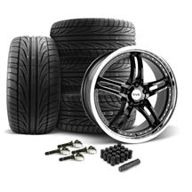 Mustang SVE Series 2 Wheel & Tire Kit - 19x9/10  - Gloss Black w/ Machined Lip - Ohtsu Tires (15...