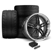 Mustang SVE Series 2 Wheel & Tire Kit - 20X8.5/10 Black w/ Machined Lip (05-14)