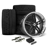 Mustang SVE Series 2 Wheel & Tire Kit - 20x8.5/10 Gloss Black w/ Machined Lip (15-19)