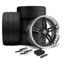 Mustang SVE Series 2 Wheel & Tire Kit - 20x8.5/10 Black w/ Machined Lip (15-18)
