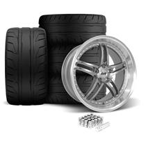 Mustang SVE Series 2 Wheel & Tire Kit - 20X8.5/10 Gun Metal w/ Machined Lip (05-14)