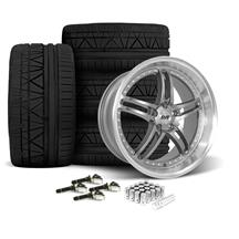 Mustang SVE Series 2 Wheel & Tire Kit - 20x8.5/10 Gun Metal w/ Machined Lip (15-18)