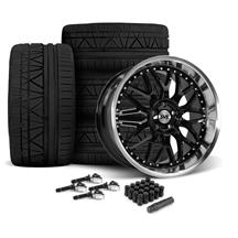 Mustang SVE Series 3 Wheel & Nitto Invo Tire Kit - 20x8.5/10 Gloss Black (15-19)