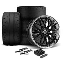 Mustang SVE Series 3 Wheel & Nitto NT05 Tire Kit - 20x8.5/10 Gloss Black (15-19)