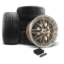SVE Mustang Series 3 Wheel & Tire Kit - 20x8.5/10  - Satin Bronze (05-14) Ohtsu FP8000