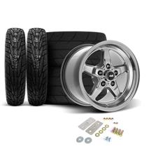 "Mustang SVE Drag ""Classic"" Wheel & Tire Kit - 17x4.5 / 15x10  - Dark Stainless  (05-14)"