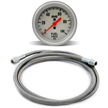 SVE Mechanical Fuel Pressure Gauge w/ Stainless Steel Tubing Kit