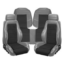 Mustang TMI 03-04 Cobra Style Upholstery   - Smoke Gray Vinyl/ Black Suede Insert (87-89) hatchb...