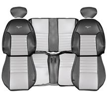 Mustang TMI 35th Anniversary Leather Seat Upholstery Kit  - Dark Charcoal/Silver (1999) Converti...
