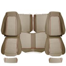 Mustang TMI Cloth Seat Upholstery - Sport Seats  - Sand Beige w/ Red Piping (85-86) Hatchback
