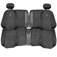 Mustang TMI Cobra Coupe Leather Seat Upholstery with Dark Charcoal Suede Inserts (03-04)