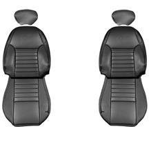 TMI Mustang Front Sport Seat Upholstery Dark Charcoal Leather (99-04) 43-76600-L741-L741P-Y