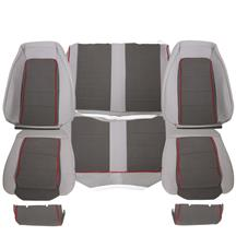 Mustang TMI GT Cloth Seat Upholstery  - Gray w/ Red Welt (85-86) Convertible