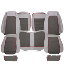 Mustang TMI GT Cloth Sport Seat Upholstery  - Charcoal Gray w/ Red Welt (85-86) Hatchback