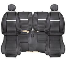 TMI Mustang Mach 1 Coupe Vinyl Seat Upholstery Dark Charcoal  with Silver Stripe (03-04) 43-76023-6042-6042P-402S