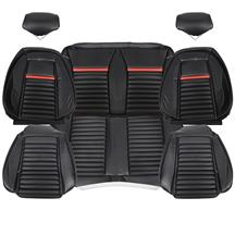 TMI Mustang Mach 1 Sport Seat Upholstery - Vinyl  - Black/Red (92-93) Convertible 43-74021-958-801-63