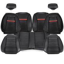 TMI Mustang Mach 1 Sport Seat Upholstery - Vinyl  - Black/Red (92-93) Hatchback 43-75021-958-801-63