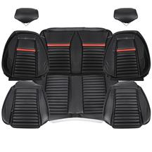 TMI Mustang Mach 1 Sport Seat Upholstery - Vinyl  - Black/Red (92-93) Coupe 43-73021-958-801-63S