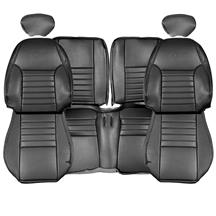 TMI Mustang Sport Seat Upholstery Leather Dark Charcoal with Pony (99-04) 43-76621-L741-L741EP-Y2
