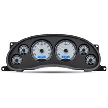 Mustang Dakota Digital VHX Digital Instrument Cluster  - Silver Alloy, Blue Backlighting (94-04)