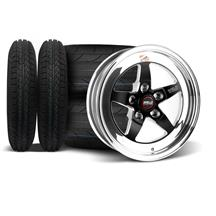 Mustang Weld 5-Lug RT-S S71 Wheel & Tire Kit - 15x4/10  - Black - NT555 R2 / Cordovan Classic (7...