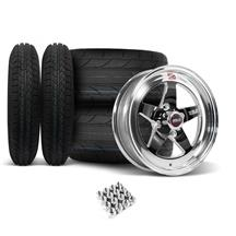 Mustang Weld RT-S Wheel & Tire Kit - 15x4/15x10  - Black - NT555 R2 / Cordovan Classic (79-93)