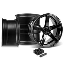 Mustang DF5 Wheel & Lug Nut Kit - 20x8.5/10 Piano Black (15-17)
